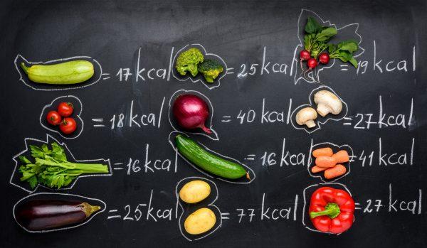 それぞれの野菜に対するカロリーを表示している画像